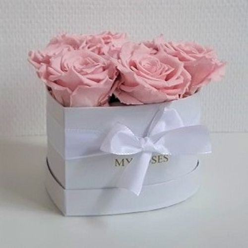 Herzbox white, 6 rosa Rosen